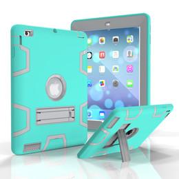 $enCountryForm.capitalKeyWord NZ - 3 in 1 Protection Anti-slip Silicone+PC Hard Back Cover Kids Safe Hybrid Case for Apple iPad 2 iPad 3 iPad 4 Tablet+Stylus
