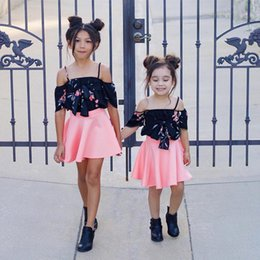 Chicas Dulces Coreanas Baratos-Everweekend Girls Bow Floral Tees con Pink Ruffles Dress 2 piezas Set Sweet Baby Korean Fashion Summer Holiday trajes de algodón