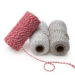 cotton rope diy UK - Gift Packing Cotton Bakers Twine Decorative Handmade Accessory Colored String Christmas twine cotton rope DIY Wedding Party craft packaging