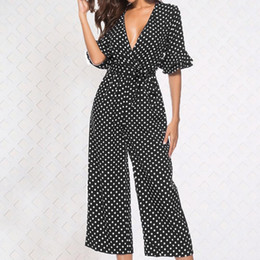 $enCountryForm.capitalKeyWord Canada - Fashion Polka Dot Short Sleeve Women Summer Casual Romper Waist Tie Jumpsuit new