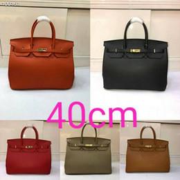 Patent Black Bags Canada - NEW Herrrrmes FULL LEATHER BIRKIN40CM SHOULDER BAGS HANDBAG embossed YF0309- palm print portable Gold Hardwarer shoulde bag Orange black red