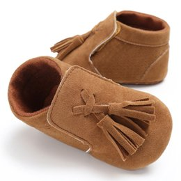suede leather baby moccasins 2019 - New Style PU Suede solid Leather Newborn Infant Toddler princess fringe Baby Moccasins Soft sole Baby Boys Girls Shoes 0