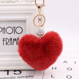 Dolls fur balls online shopping - NEW Lovely Heart Shaped Keychian Pom Poms Imitation Fur Ball Toy Doll Bag Car Key Ring Monster Keychain Crystal Jewelry Gift