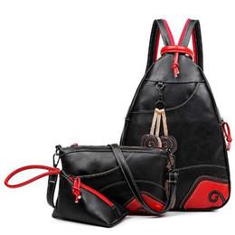$enCountryForm.capitalKeyWord Canada - NEW Fashion Vintage Leaf Stitching Shoulder Bag Backpack three sets Multifunction Chest Women Leather Backpacks free shipping