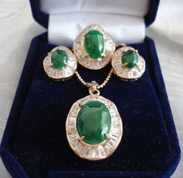 Discount diamond necklace bracelet ring set - Emerald Green Jade 18KGP Cubic Zirconia Pendant Necklace Earrings Ring Set