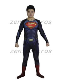Superman Lycra Spandex Pas Cher-3D Imprimé Superman Bodysuits Costumes Imprimé Spandex Lycra Zentai Cosplay Halloween Party Costume111448548