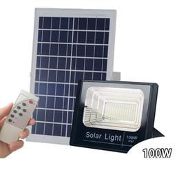 Projecteur à énergie solaire à LED 10W 40W 60W 100W Télécommande Luminaire solaire étanche Projecteur de sécurité pour jardin extérieur jardin