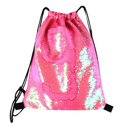 Mermaid Sequin Backpack Sequins Drawstring Bags Outdoor Sports Backpack  Glitter Sports Shoulder Bags Storage Bags CNY188 artwork string bag for sale 28973f98125e