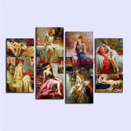 China Retro Sexy Woman,4 Pieces Home Decor HD Printed Modern Art Painting on Canvas (Unframed Framed) cheap nude women canvas art painting suppliers