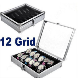 12 Slot Display Case Canada - Watch Box 12 Grid Slots Watch Winder Aluminum alloy Inside Container Jewelry Organizer Watches Display Storage Box Case