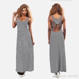 e8ae392074e6f2 Sexy Backless Stripes Dress Black And White Elastic Vest Top Dress Tight  Condole Womens Summer Celeb Boho Long Maxi Dress