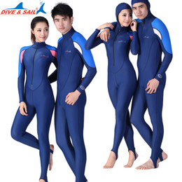 lycra diving suits NZ - Swim Rash Guards DIVE&SAIL skin dive couple suit jumpsuit Lycra one-piece wetsuit Anti jellyfish anti-skidding for swimming diving rashguard