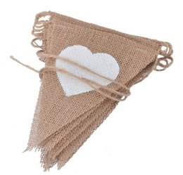 Wholesale DIY Handmade Hanging Flag Jute Rope Flax Triangular String Banner Love Heart Pattern Garden Pennants For Home Wedding Decorations dl B