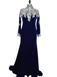$enCountryForm.capitalKeyWord UK - Royal Blue Velvet Prom Dress Charming Woman Long Sleeves High Neck Mermaid Evening Foraml Party Gown vestido formatura