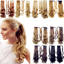 Hair Color Australia - female European and American curly hair any color magic stickers volume ponytail multi-color long curly hair hood free shipping