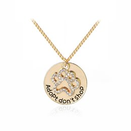 "wholesale paw print Australia - Brand New ""Adopt don't shop"" Round Pet Paw Print Rhinestone Necklaces Cute Animal Dog Cat Memorial Jewelry Pet Lover Puppy Paw Necklace"