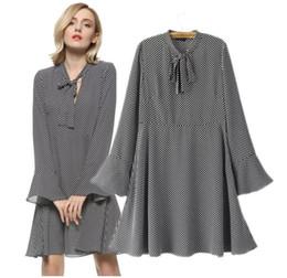 4e6059d4e3df Lady large size XL-5XL chiffon wave point pattern loose dress women plus  big code elegant Bell sleeve one piece work casual dress