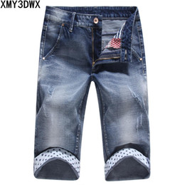 d43f9031abe 2018 Summer Shorts Men Blue Short Jeans Straight Retro Shorts Jean Bermuda Male  Denim Brand Clothing Plus Size 36 34
