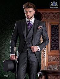 grey tailcoat suit 2019 - Custom Morning Style Groom Tuxedos Grey Best man Groomsman Suit Mens Wedding Suits Bridegroom Tailcoat (Jacket+Pants+Tie