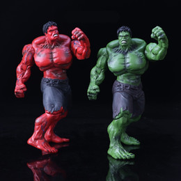 Red Hulk Figures Australia - The Avengers Movie Action Figure Model Incredible Hulk 26cm Red And Green PVC Figures Toy Hands Adjustable Gift 53hl WW