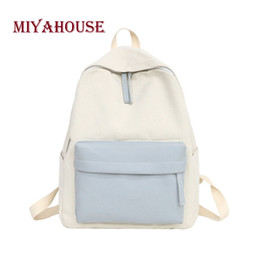 Miyahouse 2018 Simple Canvas Women Backpack Paneled Personality School Bag  For Teenager Girls Large Capacity Female Rucksack 761b0751aa3f7