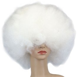 big white wigs 2019 - QQXCAIW 200g Super Big Short Culry Cosplay Party White Dance Afro Wigs discount big white wigs