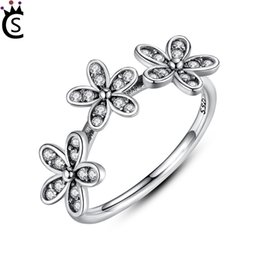 fb9b7607c ... closeout authentic 100 s925 sterling silver dazzling daisy stackable  finger ring clear cz flower jewelry christmas
