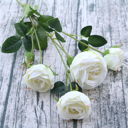 artificial white stem roses NZ - single stem rose flower artificial roses 60cm long 8 Colors six flower heads per piece for wedding centerpieces