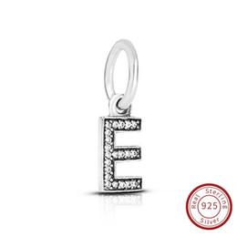 Flat Letters For Bracelets UK - Letter E Authentic 925 Sterling Silver Jewelry Crystal A-Z Letter Pendant Charms Fit For Pandora Original Bracelet & Necklace791317CZ