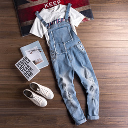 a80768baefc1 Fashion Summer Cargo Jeans For Men Japan Euro Style Man Casual Ripped Jeans  Overalls Bib Pants Male Blue Denim Jumpsuits Rompers