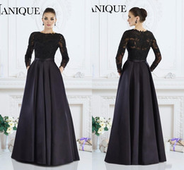 China 2019 Janique Black Long Sleeves Formal Gowns A-Line Jewel Lace Beaded Mother of The Bride Dresses Custom Made Women Evening Wear cheap lace janique dresses suppliers