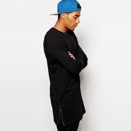 $enCountryForm.capitalKeyWord Australia - Fashion Men Casual T Shirt Long Sleeve Oversize T -Shirt Man Curve Hem Side Zip Hip Hop Cotton Solid O-Neck Top Tees Hot Sale