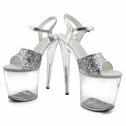 7f54f17941a Gorgeous gold silver glitter high heels 8 inch white flowers wedding shoes  clear platform Crystal shoes 20cm party dress sandals