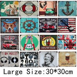 Discount retro home bars - 21 style Metal Painting Iron Wall Art Pictures Tin Sign Rectangle Retro Fashion Beer Bar Ktv Bedroom Home Décor 30*30cm