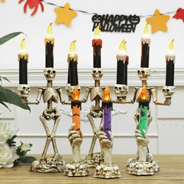 $enCountryForm.capitalKeyWord NZ - 12pcs set Halloween Skull LED Candles Flameless Timer candle Battery Operated Electric Lights Flickering Tealight Halloween props