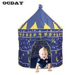 Discount girls play tents - Kids Play Tent Toy Portable Foldable Prince Folding Tent Children Boy Girl Castle Cubby Fairy Play House Gifts Outdoor T