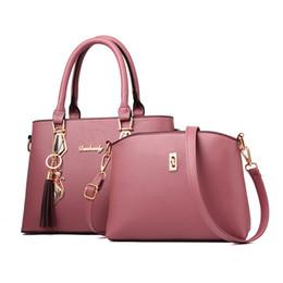 Women Fashion 2 Pieces Sets Handbag PU Leather Handle Large Tote Ladies  Crossbody Shoulder Bag Composite Bag Female Bolsa Sac 872c3fa2ef130