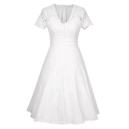 EmpirE pin online shopping - Summer Women Sexy Deep V neck high waist white Lace Patchwork Rockabilly Pin up Casual evening Party ladies dresses kleider