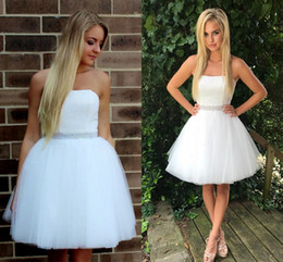 Cheap prom dress fast online shopping - White Strapless Short Homecoming Dresses Sequins Beaded Tulle Short Party Dresses Cheap Prom Dresses Fast Shipping Zipper Up