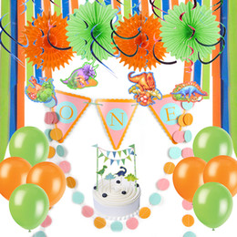 Baby Shower Boy Dinosaur Theme First 1st Birthday Party Decoration ONE High Chair Banner Hanging Swirls Cake Topper Balloons