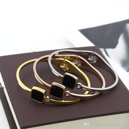 Black Blocks Australia - PB53 2018 new fashion single stone black block style bangle 18k gold plate for lady gift free shipping
