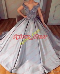 dark grey evening gowns NZ - 2018 sexy cheap elegant plus size grey evening gown off shoulder short sleeves vestido de festa quinceanera lace ball gown dresses ball gown
