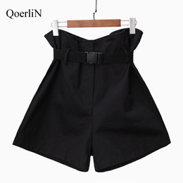 high waist trousers women clothes NZ - QoerliN Solid Ruffles High Waist Harajuku Fashion Shorts Women Belt Short Trouser 2018 Summer Sexy Casual High Street Clothing