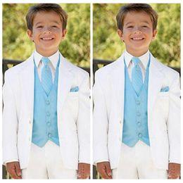$enCountryForm.capitalKeyWord NZ - Newest White Boys Suits for Wedding Prom Boy Suits Formal Costumes for Boys Kids Tuxedo Children's Blazer Clothes 3 (Jacket+Pants+Vest)
