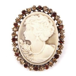$enCountryForm.capitalKeyWord NZ - Crystal Rhinestones Surrounding Cameo Pins and Brooches in antique gold or antique silver color