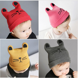 ef92f108fce Cartoon Baby Hats Cat Knitted Cap Beard With Ears Winter Warm Newborn Caps  Beanies Wool Girls Boys Hats Crochet