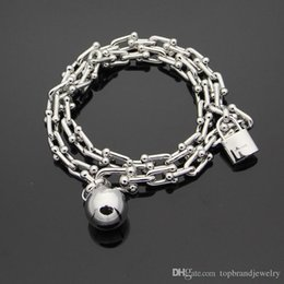 Lock For Mans Balls NZ - 2018 New arrival 316L stainless steel bracelet with pad lock and ball with logo for women and man bracelet in 39cm length wedding jewelry P