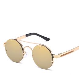 Venta al por mayor de Moda gafas de sol redondas hombres mujeres diseñador de la marca Vintage Steampunk gafas de sol de metal para hombre mujer hombre gafas gafas de sol