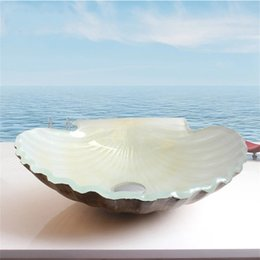 Wholesale Art Table Bathroom Wash Basin Shower Room Glass Hot Coloring Scallop In Shell Shape Melt Washing Basins Fashion Home Decor bw jj