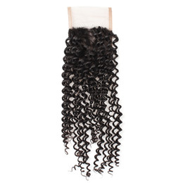 virgin hair free part lace closure 2019 - Brazilian Peruvian Malaysian Cheap Curly Virgin Hair Lace Closure 1 Bundle 100% Human Hair Hand Tied Kinky Curly Virgin